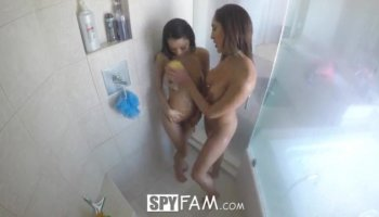 Rachel Roxxx having shower with her step brother Keiran Lee
