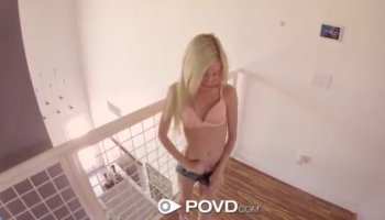 Skinny Blonde Babe Gets Fucked By Boyfriend On Cam