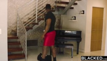 Ebony stepmom riding cock in trio